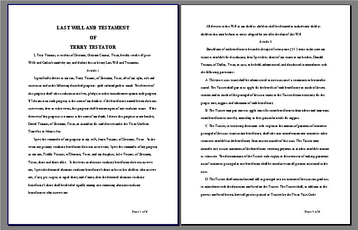 Sample last will testament for Sample of a last will and testament template